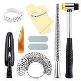 Keadic 12Pcs Jewelry Ring Sizer Tools Set, Ring Mandrel, Ring Sizer, Ring Clamp, Rubber Hammer, Plastic Ring...