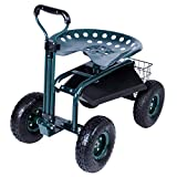 KARMAS PRODUCT Steerable Garden Stool Cart with Tool Tray and Storage Basket on Wheels Rolling Work Seat Heavy Duty Scooter with Extendable Steer Handle Green