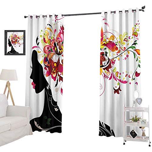 YUAZHOQI - Cortinas opacas para dormitorio (132 x 160 cm), diseño futurista con imagen de mujer y armonía de la naturaleza, color negro y rosa