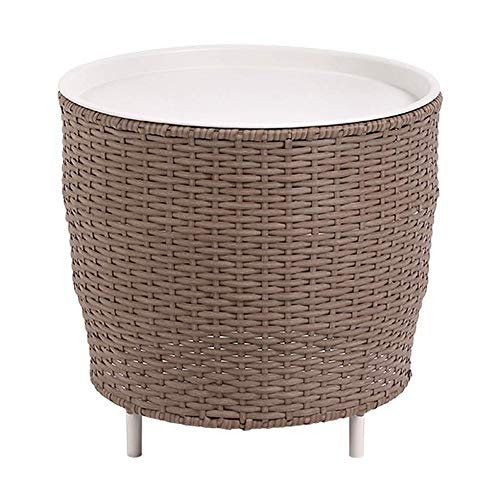CMMWA Nightstand Side End Table for Living Room/Bedroom Rattan Tea Several Creative Rattan Iron Combination Round Sofa Small Round Table,for Home Decoration, Storage, Round, White