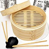Bamboo Steamer, Bamboo Steamer Basket, Bamboo Steamer 10 inch, 2 Tiers, 4 Chopsticks, 20 Bamboo Steamer Liner, Bowl, Dumpling Steamer Basket Bamboo, Steam Basket Bamboo by North Land Products