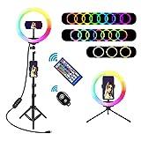 10' RGB Selfie Ring Light, SRUIM Desktop RGB Flash Ring Light with Tripod Stand & Cell Phone Holder, LED Dimmable Desktop Beauty Selfie Light for YouTube Video, Live Stream, Makeup