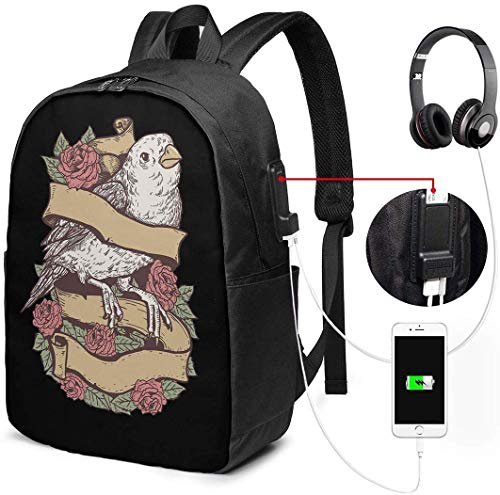 Unisex Rugzak met USB Opladen Poort Vogel Tattoo Klassieke Mode Algemene Zakelijke Boekenkast