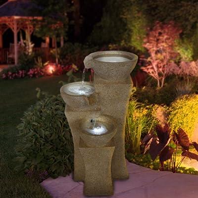 Go Yard Cascade Bowls Fountain with LED Lights