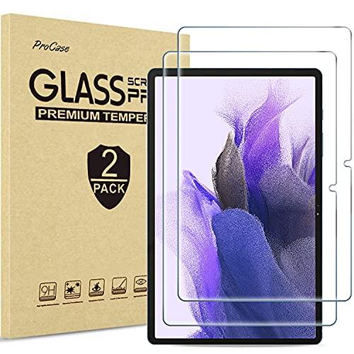 [2 Pezzi]ProCase Pellicola Protettiva per Galaxy Tab S7 Plus 12.4 2020[SM-T970 T975 T976  T978], Vetro Temperato [Alta HD Trasparenza, Anti-Impronte Digitali Graffi Agli Urti Olio]
