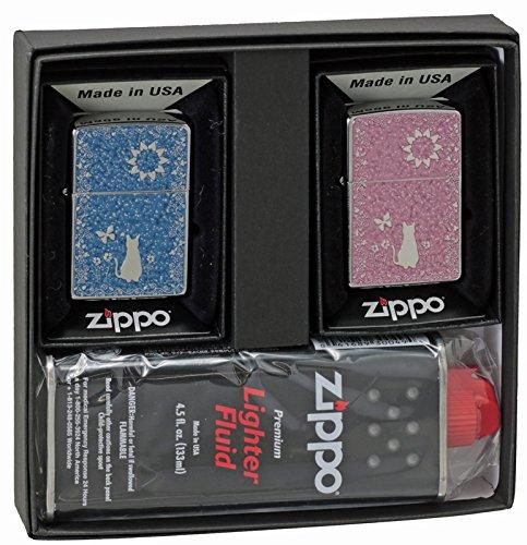 【ZIPPO】 ジッポーライター オイル ライター ペアジッポー ねこ ペア 2個セット 細密メタルプレート貼り ピンク・ブルー ペアセット専用パッケージ入り(オイル缶付き) 猫 キャット