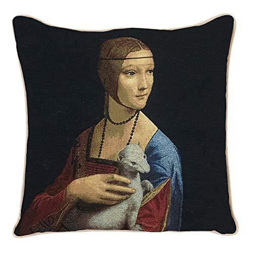 Signare Tapisserie Kissenbezug 45x45, Kissen 45x45 Kutdoor Kissen, Sofakissen, Deko Kissen, Zierkissen inspiriert von Leonardo da Vinci (Frau mit einem Hermelin)