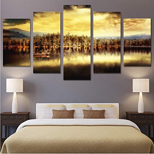Sdhafhj Wandkunst Leinwand Moderne Kunstwerk Gedruckt 5 Panel Bäume Zusammen Herbst Sehenswürdigkeiten Dekoration Für Wohnzimmer-30x40/60/80CM,Mit Rahmen