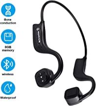 Bone Conduction Headphones for Swimming, IP68 Waterproof Open-Ear 8GB MP3 Music Player Wireless Sport Earphones Headset Built-in Noise Cancelling Mic for Running, Gym, Cycling, Black