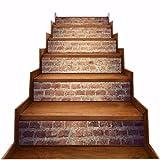 A.Monamour Pegatinas de Escalera Autoadhesivos 3D Ladrillo Rojo Pared Ladrillo Textura De Ladrillo Vinilo Impermeable Pegatinas de Pared Adhesivos Etiquetas Pegatinas de Baldosas DIY 6PCs