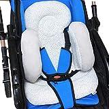 Baby Stroller Cushion, vocheer Soft Baby Pushchair Seat Liner Pram Head and Body Support Pillow Washable Baby Stroller Padding Head Support Cushion for Newborn, Grey