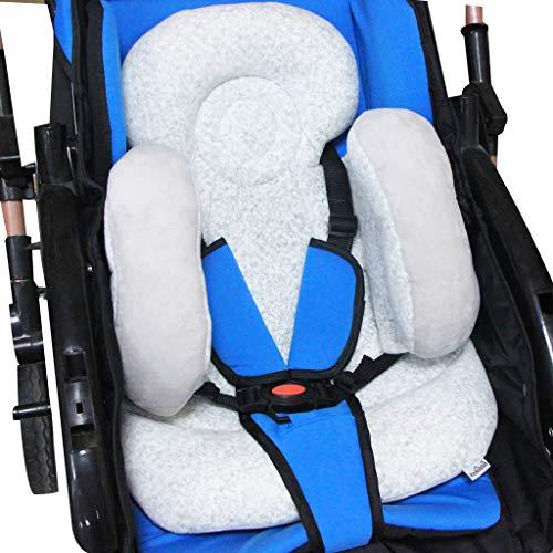 Baby-Kinderwagenkissen, Vocheer Weiche Baby-Kinderwagen-Sitzauflage Kinderwagen Kopf und Körper Stützkissen Waschbar Baby Kinderwagen Polsterung Kopfstütze Kissen für Neugeborene, Grau
