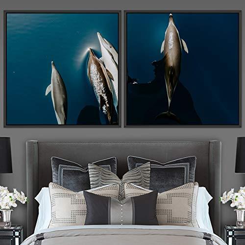 "bestdeal depot Marine Life 2 Panels Framed Canvas Wall Art Prints for Living Room,Bedroom Framed Artwork Decoration Ready to Hang - 16""x16""x2 Panels"