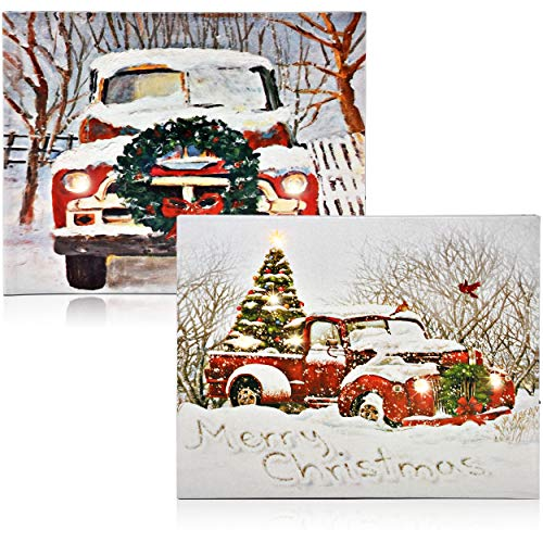 Christmas Lighted LED Canvas Wall Art -2 Led Fiber Optic Lights Winter Holiday Scene Large 17' Merry Christmas Prints With Battery Operated Light Pictures for Door Wall Home Kitchen Porch Decor