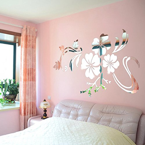 Wall Stickers, SHOBDW 3D Flower Mirror Vinyl Removable Wall Sticker Decal Home Decor Art DIY (78 * 60cm, Sliver)