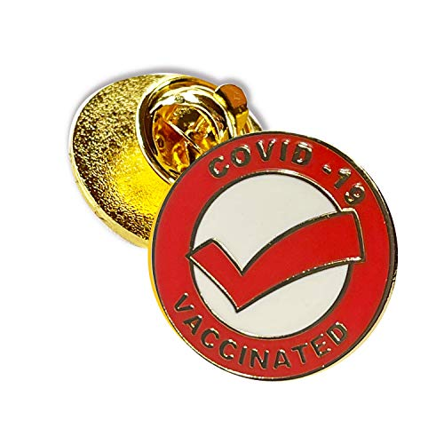 Vaccinated COVID-19 Coronavirus enamel Lapel Pin - Covid19 Badge tag id record gold plated lapel cdc pin - Brooch Vaccinated memorial for bag shirt - medical alert symbol USA pin (1)