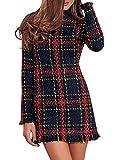 ORANDESIGNE Mujer Primavera Elegante Cuello Alto Manga Larga Tweed con Detalle de Flecos Slim Vestido de Fiesta Vestidos Cocktail Mini Dress Rojo ES 38