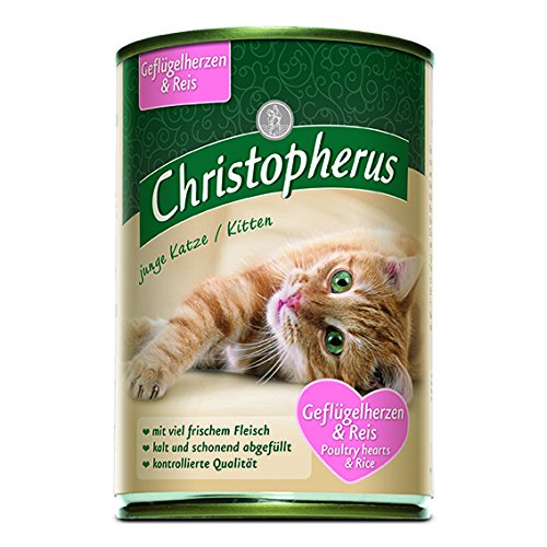 Christopherus Alleinfutter für Katzen, Nassfutter, Junge Katze, Geflügelherzen und Reis, 6 x 400 g Dose