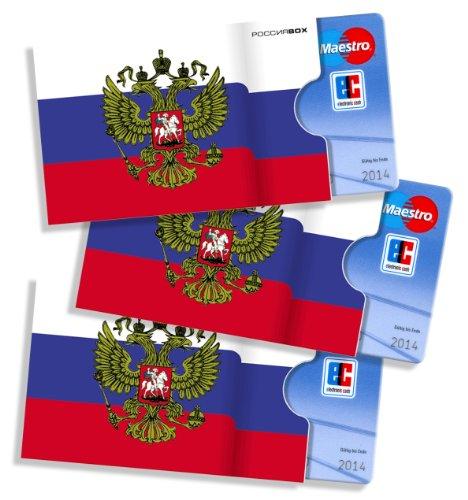 Russische cardbox Motiv: Russland Flagge/Russische Fahne /// 3er Set /// Kartenhülle, Ausweishülle, Visitenkartenhülle für alle Karten im genormten Scheckkartenformat