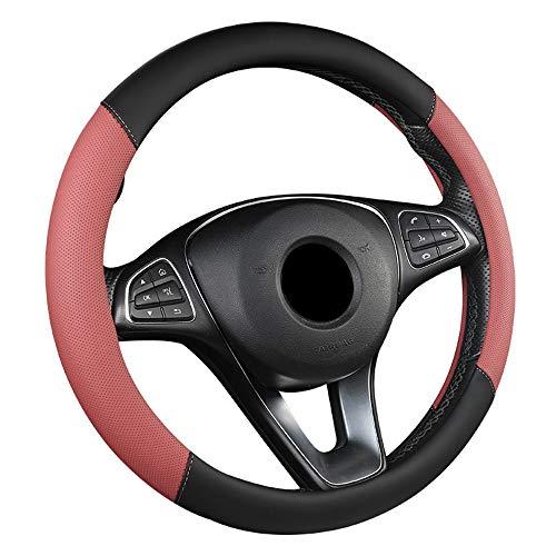 ZJSWC Cubierta del Volante, Tela Transpirable para Automóvil/Camión/SUV/Camioneta, Tamaño 38 Cm - Rojo Mousse