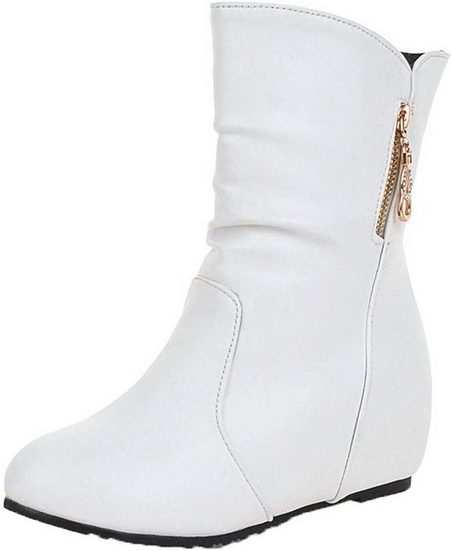 AmoonyFashion Women's Kitten-Heels Pu Low-Top Solid Pull-On Boots, BUSXT116076