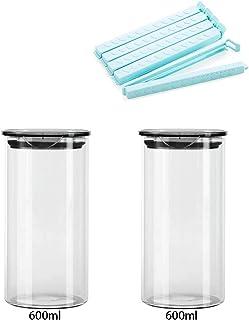 Ensemble de 2, Ensemble de pots de rangement à air hermétique de verre, Cuisine Cuisinières de rangement Conteneurs de toi...