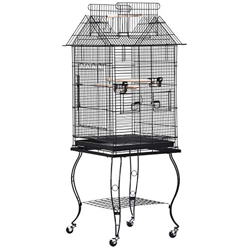 PawHut Large Metal Bird Cage Aviary Budgies Finch Cockatiel Birds Stand...