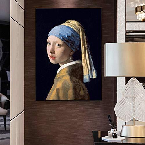 PYROJEWEL Pinturas en Lienzo La Chica con un Pendiente de Perla de Jan Famosos Carteles artísticos de Pared Impresiones Clásico Famoso Cuadro de Arte Mural 30x50cm Sin Marco