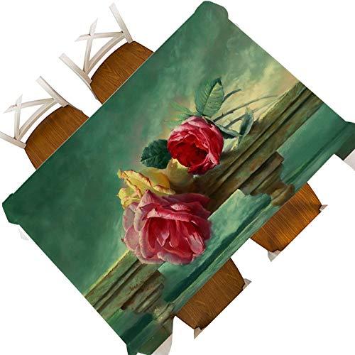 XXDD Creativo Europeo Bodegón Flor Fruta Pintura al óleo Impermeable Mantel Decorativo Cubierta Elegante Flor Tapiz de Pared Mantel A6 135x135cm