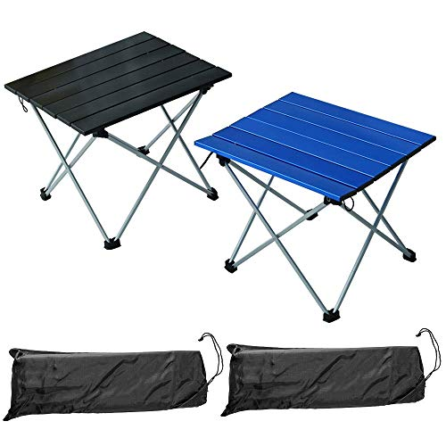 2 Pcs Portable Camping Table with Aluminum Table Top and Carry BagHardTopped Aluminum Folding Camping Table Easy to Carry Prefect for Outdoor Picnic BBQ Cooking Festival Beach