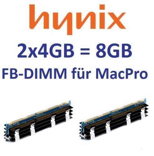 Hynix origineel 2 x 4 GB = 8 GB kit 240 pin FB-DIMM DDR800 PC2-6400 128Mx4x36 double side (HYMP151A72CP4D3-S6) voor MacPro-systemen 1,1 2,1 3,1 (bouwjaar 2006 tot 2008) modellen