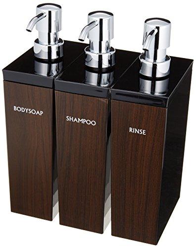 WOODY(ウッディ)ディスペンサー詰め替えボトル3本セット(シャンプー・リンス・ボディソープ) 長角型 (700ml)黒×ウォルナット