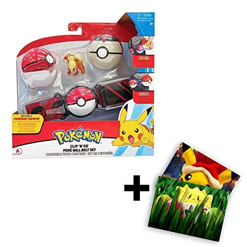 Lively Moments Pokemon Gürtel für Kinder mit 2 Pokebällen & Figur Fukano / Kindergürtel für Pokebälle / Spielzeug / Clip n Go Gürtel + Exklusive GRATIS Grußkarte