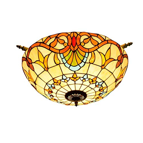 FCSFSF Tiffany Style Ceiling Lights, Stained Glass Ceiling Lamp 5 Lights Decoration Flush Mount Ceiling Lighting Fixtures for Living Room Bedroom Hallway,26 inch Wide,1