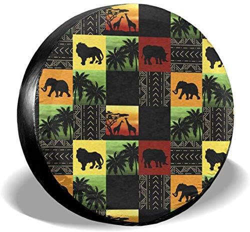 MODORSAN African Wildlife Park Cubierta de neumático de Rueda de Repuesto de poliéster Cubiertas de Rueda universales para Jeep, Remolque, RV, SUV, camión, Accesorios, 15 Pulgadas