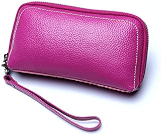 Leather Women's Wallet with A Cowhide Leather Cosmetic Wallet Leather Long Wallet Waterproof (Color : Purple, Size : S)