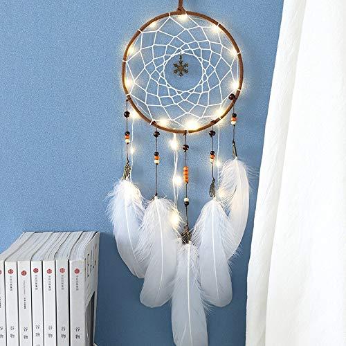 RSZHHL Atrapasueños Lámpara LED Flying Wind Chimes Iluminación Atrapasueños Regalos Hechos a Mano AtrapasueñosColgante Romántico Creativo Colgante de Pared