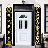 Yoaokiy Happy Anniversary Door Banner Decorations, Wedding Anniversary Party Sign Supplies, Gold...