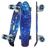 WeSkate Mini Cruiser Skateboard Monopatín completo Retro de 55 CM Tabla de Skate Vintage Borde de Plástico Cruiser Tabla PU Rueda flash Rodamiento ABEC-9 para Adultos Niños y Niñas