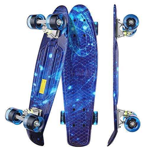 WeSkate Mini Cruiser Skateboard Tavola Completa retrò 22'55cm Tavola da Skate Vintage con Bordo in...