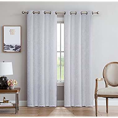LinenZone Evelyn - Room Darkening Embossed Thermal Weaved Curtains by 2 Panels With Total 12 Grommets - Noise Reduction Fabric - Premium Draperies (Pair, 38  W x 84  L, White)