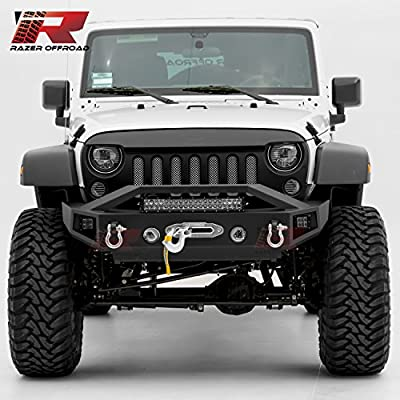 """Razer Auto 07-17 Jeep Wrangler JK Black Textured Rock Crawler Stubby Front Bumper with OE Fog Light Hole, 2x D-Ring and Built-In 22"""" LED Light bar mount, Side LED mount & Winch Mount Plate"""