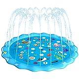 Fostoy Splash Pad, 170cm Alfombrilla de Juego de Agua Grande Almohadilla de Aspersión Juguetes Acuáticos al Aire Libre para Niños Niñas Verano Jardín Playa Actividades
