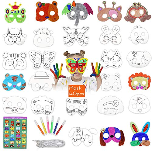 BigOtters 40 Pcs DIY Animal Masks, Blank Graffiti Masks Jungle Paper Masks with Colored Pens and Elastic ropes for Kids Dress up Birthday Party Halloween Cosplay Hand Painting Art Crafts Favor