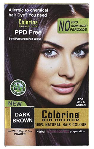 Colorina Bio Color 150gm(50gmX3), Dark Brown (Pure Natural Hair Color) | Allergy Free Herbal Hair Color | Can be used on Beard and Mustache