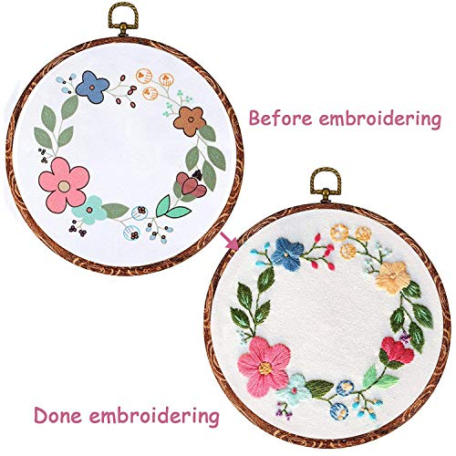 Full Range of Embroidery Starter Kit with Pattern, Kissbuty Cross Stitch Kit Including Embroidery Cloth with Floral Pattern, Imitation Wood Embroidery Hoop, Color Threads and Tools Kit (Flower Hoop)