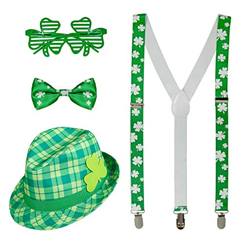 com-four® Leprechaun, Kobold Kostüme zum St. Patricks Day - Outfits und Accessoires für das grüne, irische Fest - Für Fasching, Fastnacht, Karneval, Parade, Motto-Party, Irish Pub (04-teilig - Set01)
