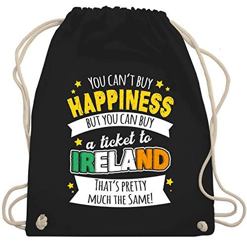 St. Patricks Day - A ticket to Ireland - weiß - Unisize - Schwarz - turnbeutel schwarz - WM110 - Turnbeutel und Stoffbeutel aus Baumwolle