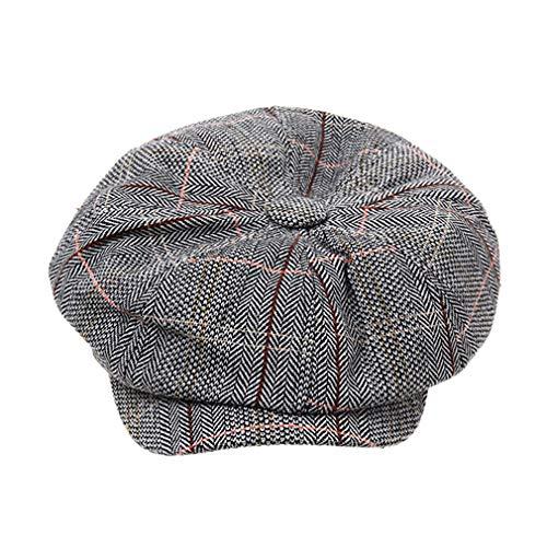 Hengxing - Gorra octogonal de lino con ala ancha, diseño de boina de Londres