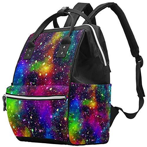 Bolsa de pañales multifunción grande para bebé, bolsa de pañales con bolsa de agua aislada para botella de agua, mochila de viaje para mamá y papá, abstracto universo nebulosa noche cielo estrellado colores arco iris